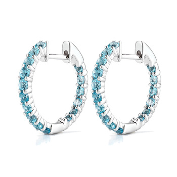 1.25ctw Blue Topaz and 18ct White Gold Hoop Earrings