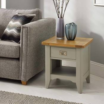 Bordeaux Painted Light Grey 1 Drawer Lamp Table