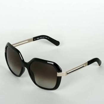 Chloe Black & Silver Sunglasses with Grey Lenses, CE661S-001