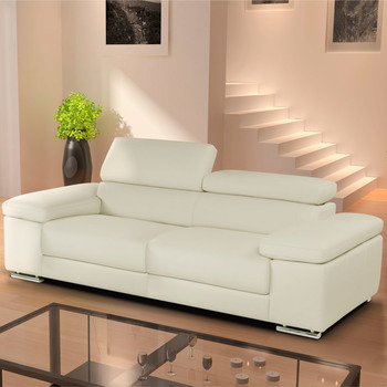 Nicoletti Lipari Cream Italian Leather 3 Seater Sofa