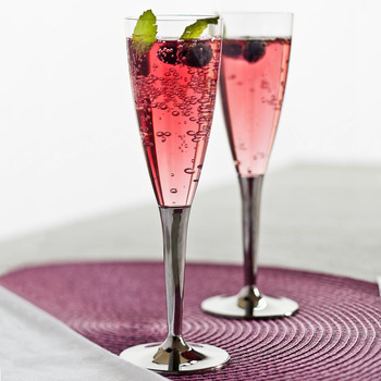 Mozaik 100 Disposable Plastic Champagne Flutes with Silver Stem