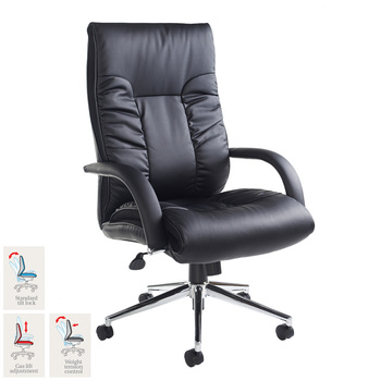 Derby Leather Faced Executive Chair in Black