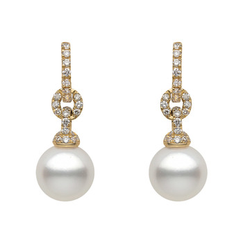 10-10.5mm White South Sea Pearl and 0.60ctw Diamond Earrings, 18ct Yellow Gold