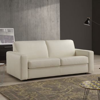 Florence 3 Seater Italian Leather Sofa Bed with Foam Mattress, Cream