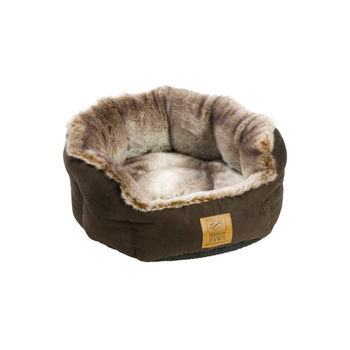 House of Paws Faux Suede & Arctic Fox Faux Fur Pet Bed with Anti-slip Base in 2 Sizes