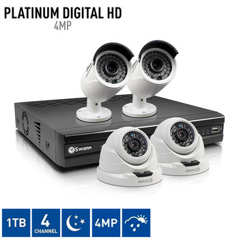 Swann NVR4-7400 4 Channel Network Video Recorder with 2 x NHD-818 Bullet Cameras and 2 x NHD-819 Dome Cameras