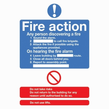 'Fire Action' Self Adhesive A5 Sign