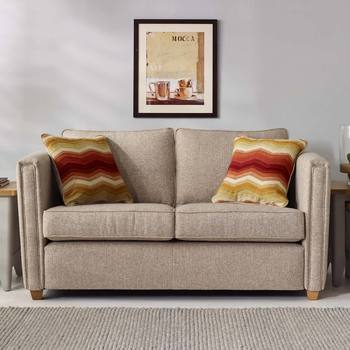 Ohio 2 Seater Fabric Sofa with 2 Accent Pillows, Natural