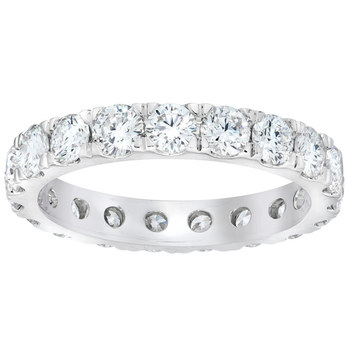 2.00ctw Round Brilliant Cut Claw Set Diamond Eternity Ring, Platinum in 2 Sizes