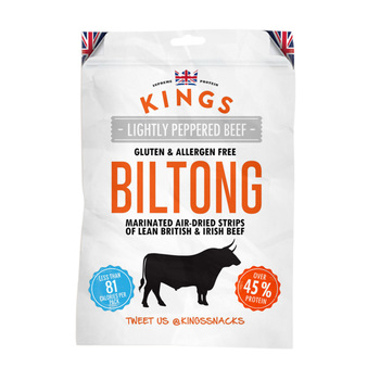 Kings Beef Biltong - Lightly Peppered Flavour, 16 x 30g