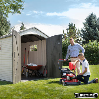 "Lifetime 7ft x 9ft 5"" (2.1 x 2.8m) Outdoor Storage Shed with Windows"
