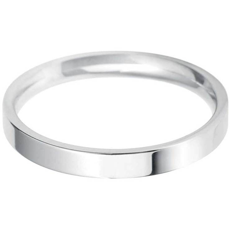 Ladies 25mm Flat Court Wedding Band in 18ct White Gold Size L