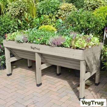 VegTrug Medium 1.8m Planter + Greenhouse Frame + Cover in Grey