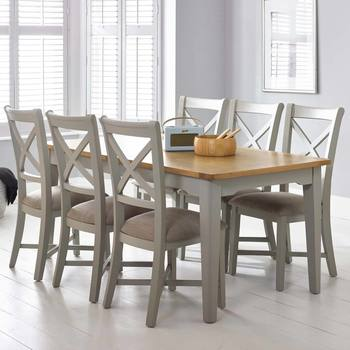 Bordeaux Painted Light Grey Large Extending Dining Table + 6 Chairs, Seats  6 8