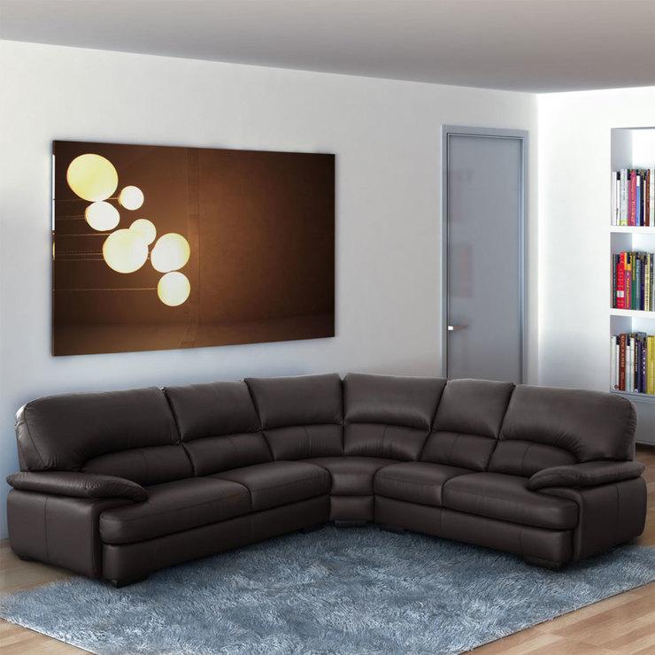 Positano Brown Italian Leather Corner Sofa
