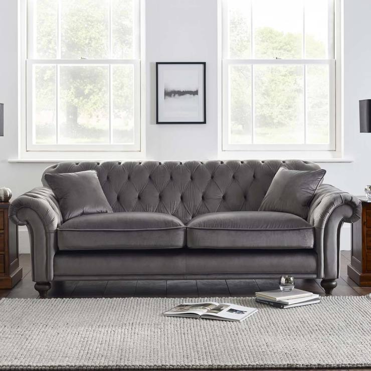 Bordeaux Button Back 4 Seater Grey Velvet Sofa With 2 Accent Pillows