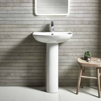 Tavistock Orbit 550mm 1 Tap Hole Basin with Full Pedestal - Model BP250S