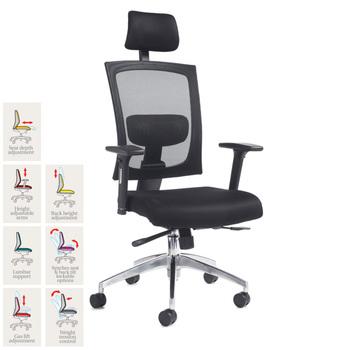 Gemini Fabric Mesh Task Chair in Black