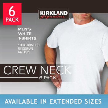 Kirkland Signature Men's White Crew Neck T-Shirt 6 Pack in 3 sizes