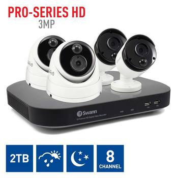 Swann DVR8-4780 8 Channel HD Digital Video Recorder with 2 x PRO-3MPMSB Bullet & 2 x PRO-3MPMSD Dome Cameras