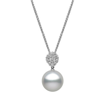 11-11.5mm White-Silver South Sea Pearl and 0.30ctw Diamond Pendant, 18ct White Gold