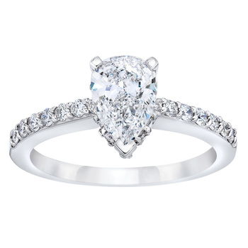 1.38ctw Pear Shape Cut Diamond Ring, Platinum