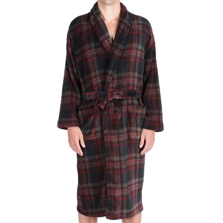 Majestic Men s Plush Fleece Robe in Black Plaid 22e5535fb