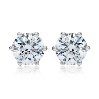 2.00ctw Round Brilliant Cut Diamond Platinum Stud Earrings