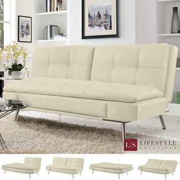 Ravenna Cream Bonded Leather Euro Lounger Convertible Sofa Bed