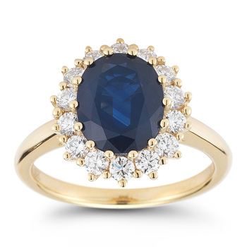3.00ct Blue Sapphire and 0.67ctw Round Brilliant Cut Diamond Ring, 18ct Yellow Gold