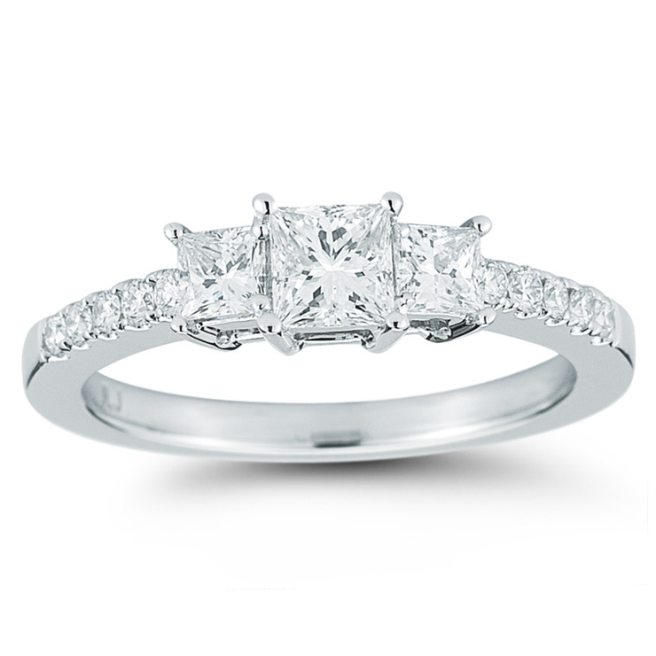 1.00ctw Princess Cut Diamond Ring, 18ct White Gold