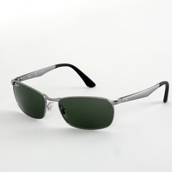 Ray-Ban Gunmetal Sunglasses with Polarised Green Lenses, RB3534 004/58