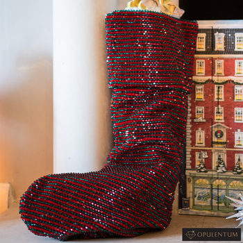 Opulentum Luxury Red and Green Velvet 2 ft (60 cm) Christmas Stocking with 14,400 Swarovski Beads