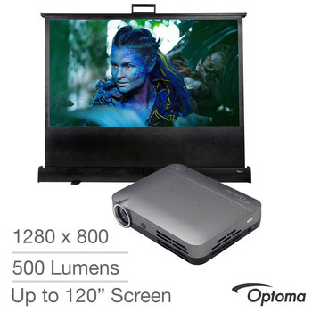Optoma ML330 Pocket 3D Android LED Projector in Grey with DP-9046MWL 46 Inch Screen