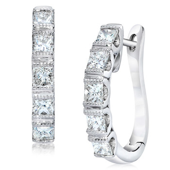 0.76ctw Princess Cut Diamond Hoop Earrings, 18ct White Gold