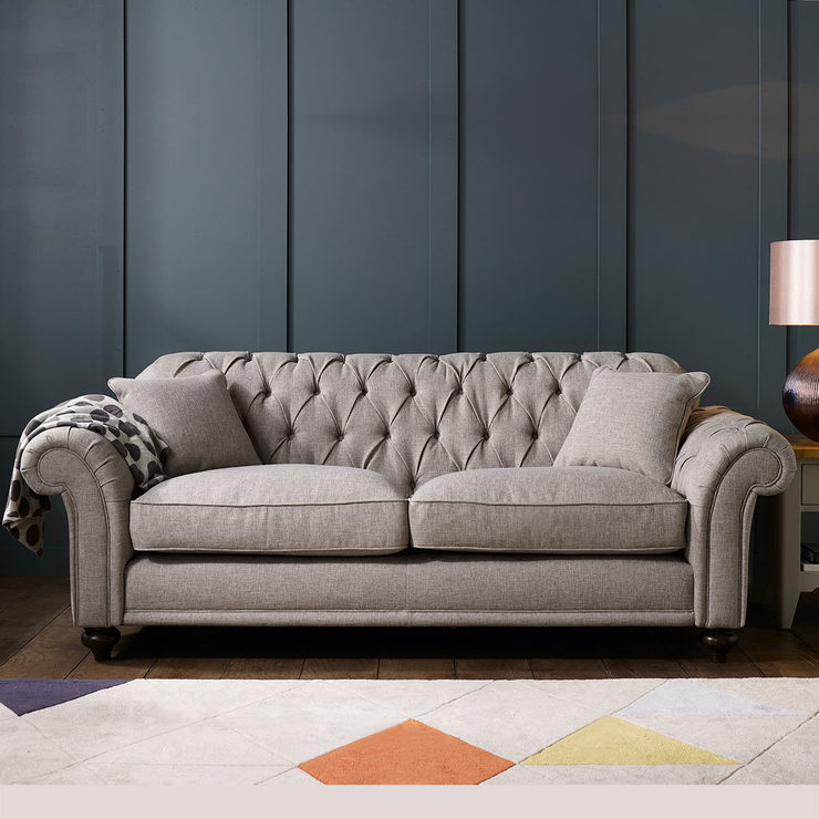 Genial Bordeaux Button Back 3 Seater Grey Fabric Sofa With 2 Accent Pillows