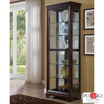 Pulaski Display Cabinet with LED Light, Adjustable Glass Shelves & Sliding Door