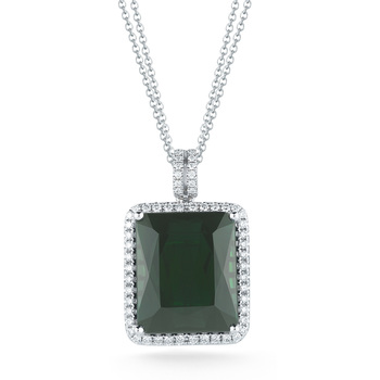 14.00ct Green Tourmaline and 0.48ctw Diamond Necklace, 18ct White Gold