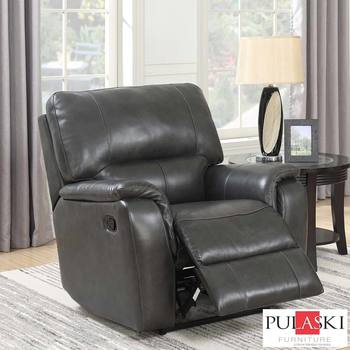 Pulaski Grey Leather Manual Recliner Chair