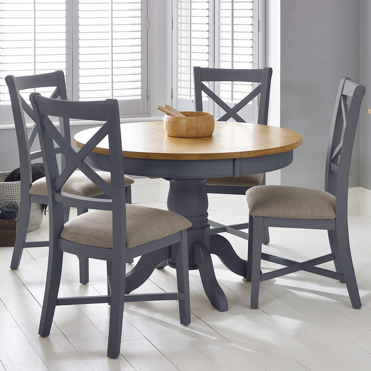 Round Table And Chairs For 6: Bordeaux Painted Taupe Round Extending Dining Table + 4