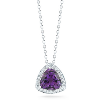 4.25ct Amethyst and 0.25ctw Diamond Necklace, 18ct White Gold