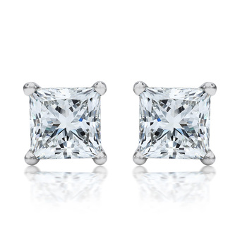 2.00ctw Princess Cut Diamond Platinum Stud Earrings