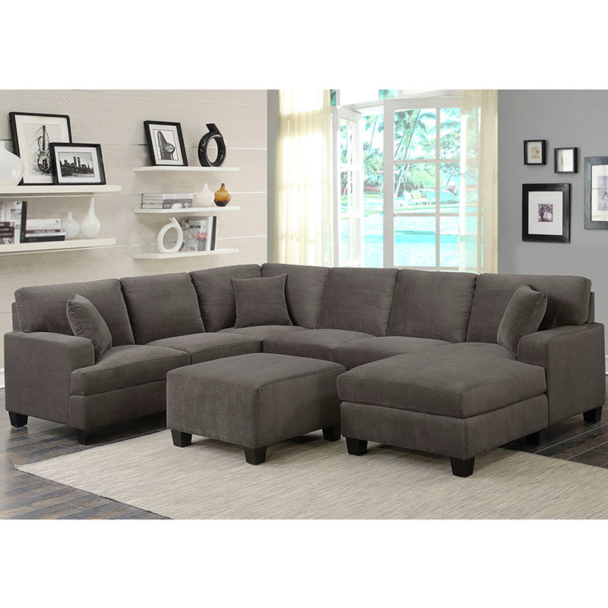 sectional rooms reina gray leather point contemporary products living piece sofa pc