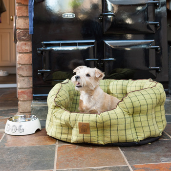 House of Paws, Large 28 x 56cm Tweed Pet Bed with Anti-slip Base in Green