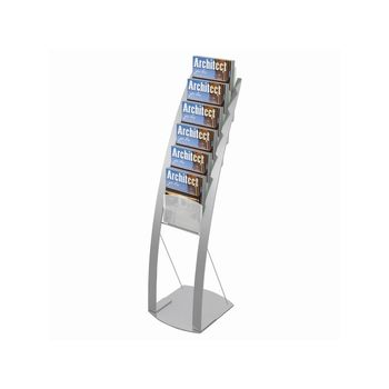 Deflecto 6 x A4 Pocket Display Holder Floor Stand in Silver 693145