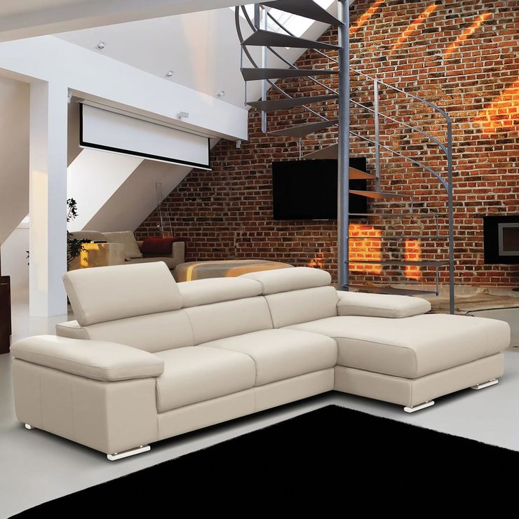 Nicoletti lipari cream italian leather sofa chaise costco uk Www multiyork co uk living room furniture