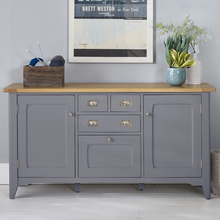 Painted Wooden Sideboard ~ Bordeaux painted taupe large wooden sideboard costco uk