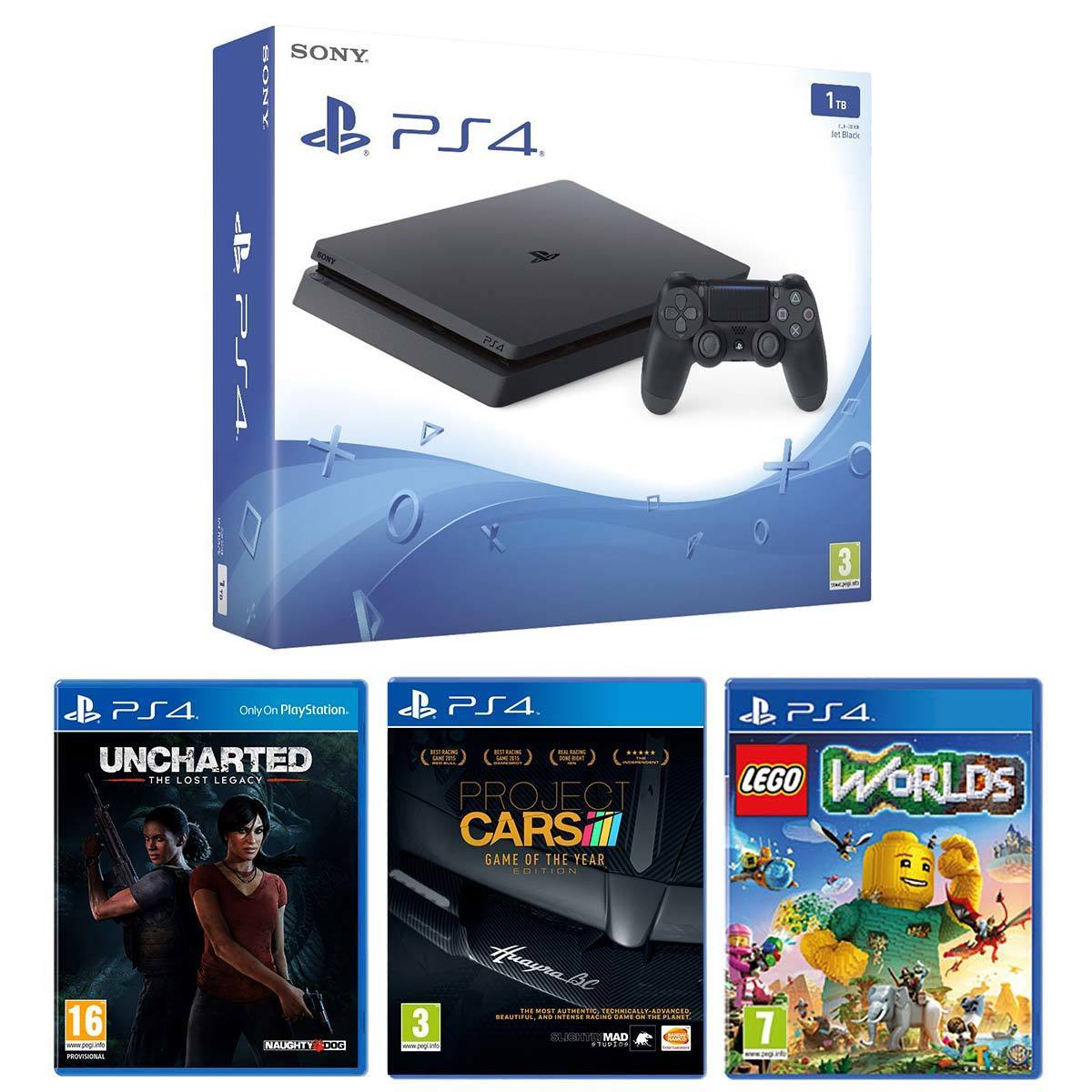 Playstation 4 Slim 1tb With Uncharted Lost Legacy Lego Worlds And Sony World Ps4 Project Cars