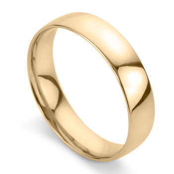 Gents 5mm Court Wedding Band in 18ct Yellow Gold, Size U