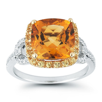 3.50ctw Two Tone Citrine and 0.18ctw Diamond Ring, 18ct White Gold